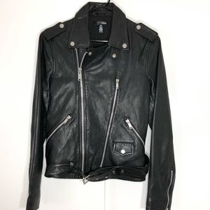 Bloomingdales Black Moto Leather Jacket